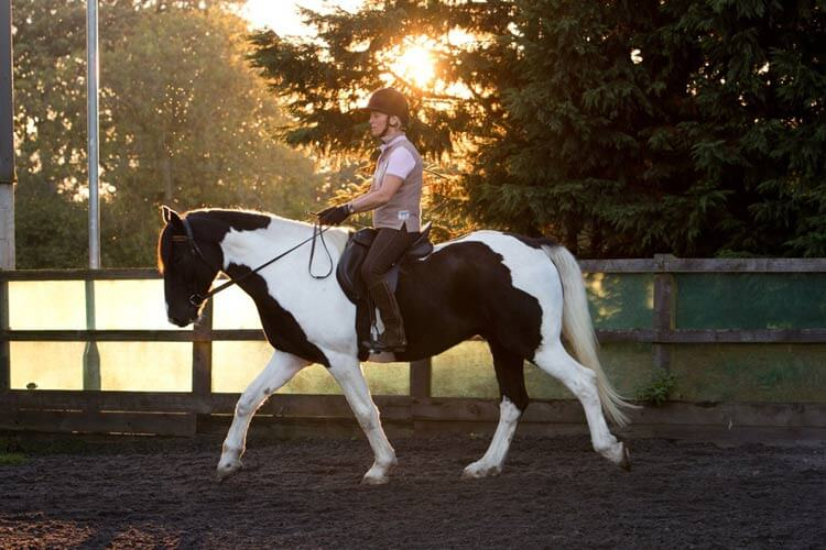 Image of Rosie Withey, Horses as teachers riding at sunset. Equine facilitated learning in somerset
