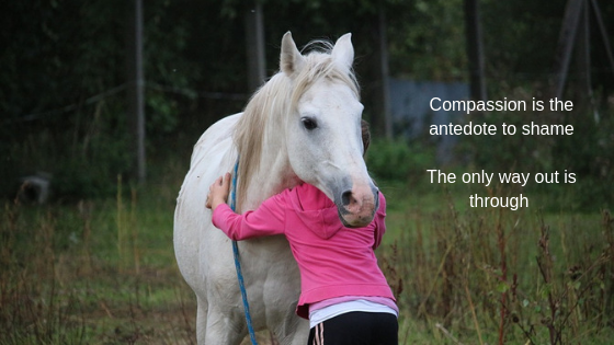 child sharing her true feelings and her pony showing empathy and compassion