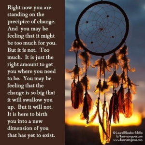 """Image of a dream catcher with the text """"Right now you are standing on the precipice of change. And you may be feeling like it might be too much for you. But it is not. Too much. It is just the right amount to get you where you need to be. You may be feeling that the change is so big that it will swallow you up. But it will not. It is here to birth you into a new dimension of you that is yet to exist."""""""